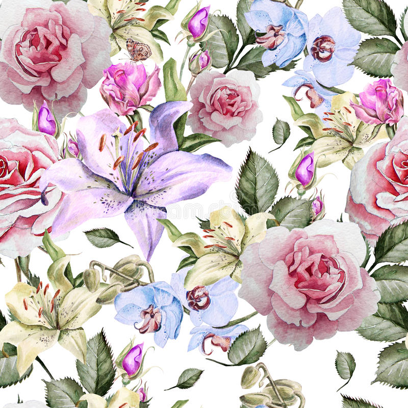 Modelo con las rosas, el lirio y las orquídeas realistas de la acuarela ilustración del vector