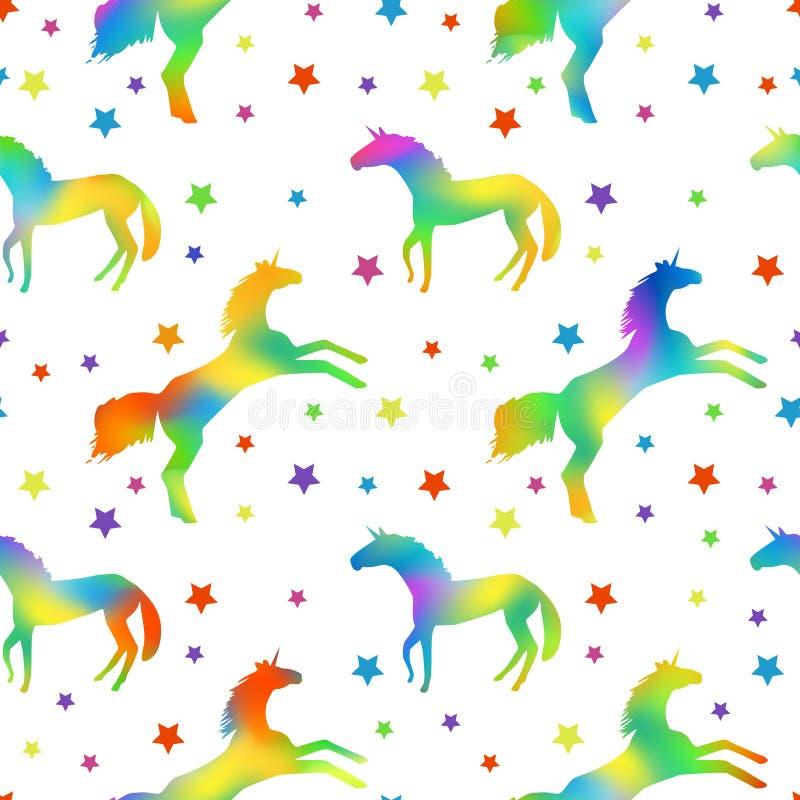 Modelo con las siluetas del unicornio con el terraplén del arco iris y las estrellas de los multicolors libre illustration