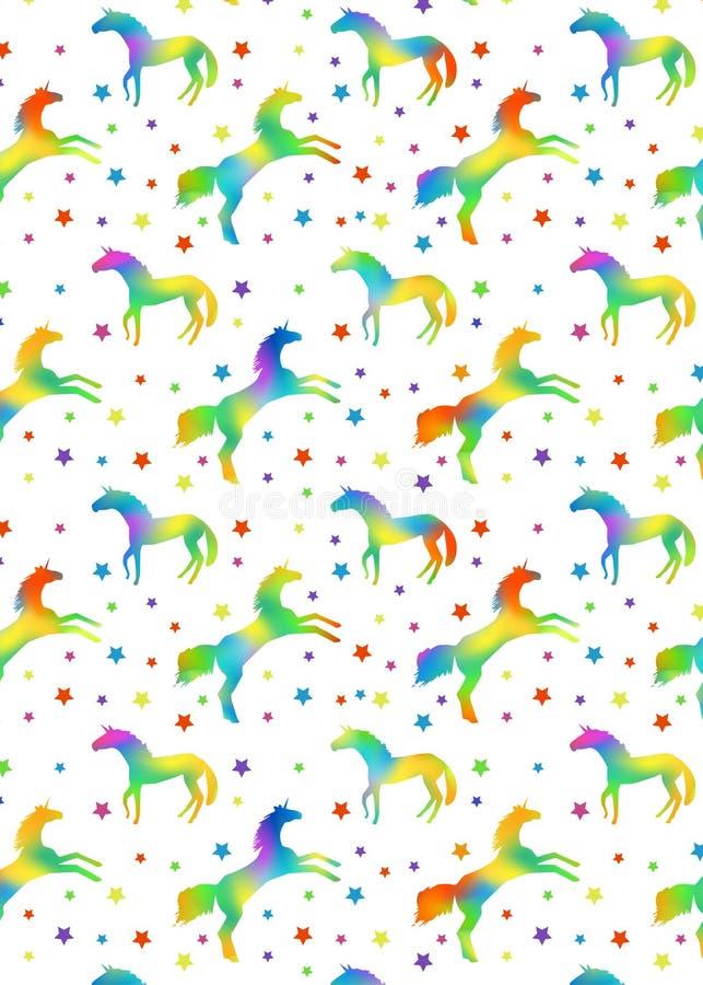 Modelo con las siluetas del unicornio con el terraplén del arco iris y las estrellas de los multicolors ilustración del vector