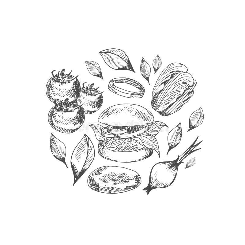 Modelo con las verduras del vector del arte y la hamburguesa del veggie ilustración del vector