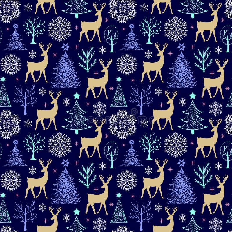 Modelo con los árboles, los ciervos y los copos de nieve libre illustration