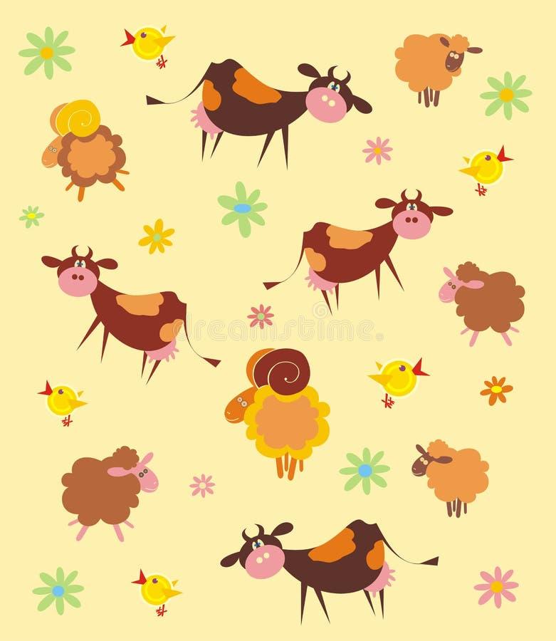 Modelo con los animales del campo stock de ilustración
