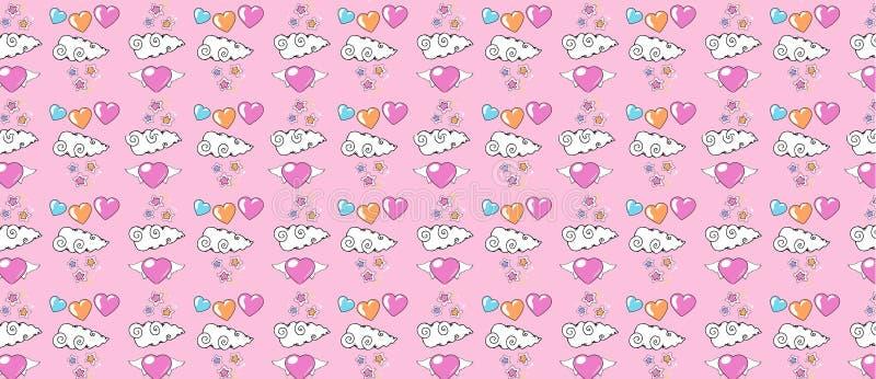 Modelo con los corazones con las alas, las nubes con las estrellas y los corazones multicolores ilustración del vector