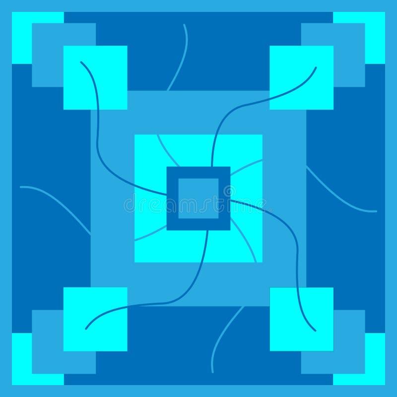Modelo con los cuadrados azules en diversa variación del tono stock de ilustración