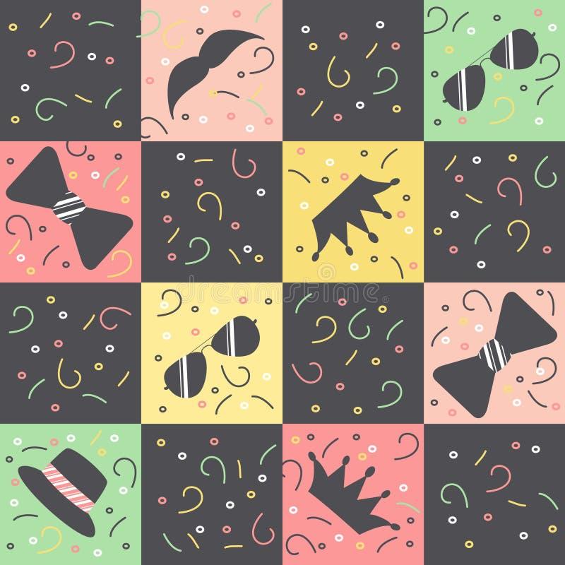 Modelo con los cuadrados multicolores y figuras negras de vidrios, coronas, sombreros, barbas, lazos y círculos, rizos y rayas libre illustration