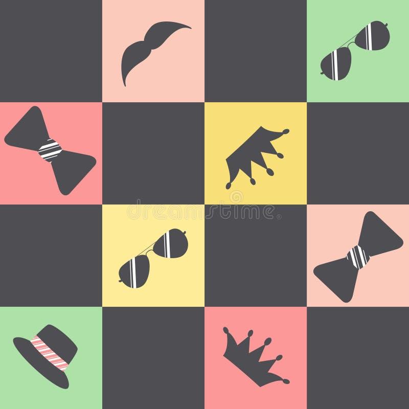 Modelo con los cuadrados multicolores y las figuras negras de los vidrios, coronas, sombreros, barbas, lazos ilustración del vector