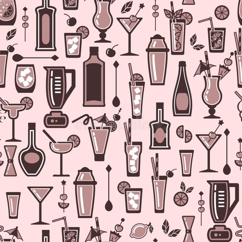 Modelo con los elementos del cóctel del alcohol stock de ilustración
