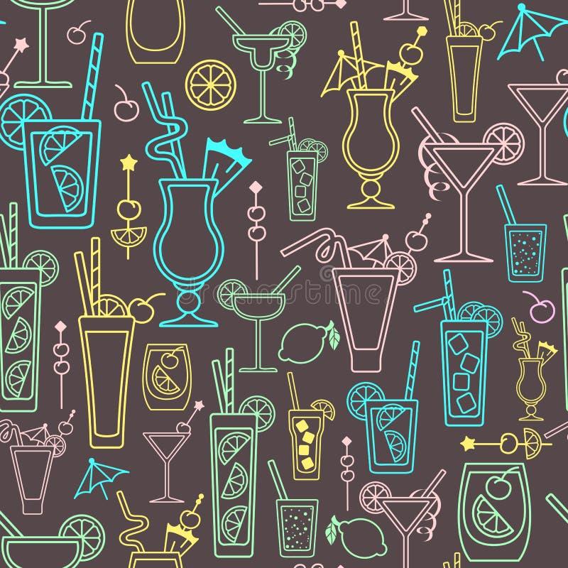 Modelo con los elementos del cóctel del alcohol ilustración del vector