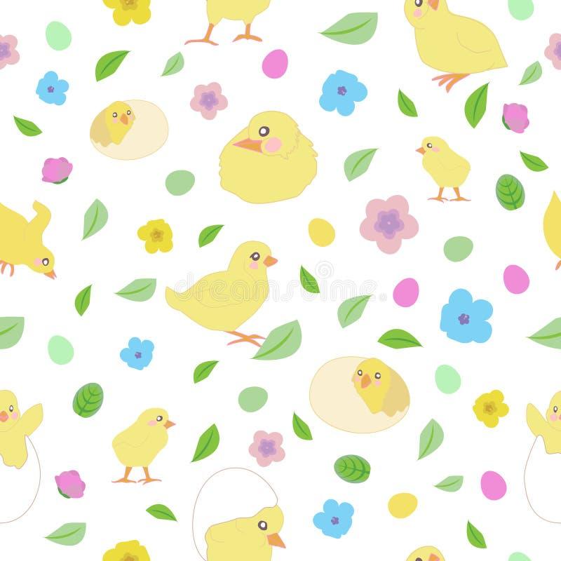Modelo con los pequeños pollos amarillos en diversas actitudes, los huevos de Pascua, las hojas y las flores stock de ilustración