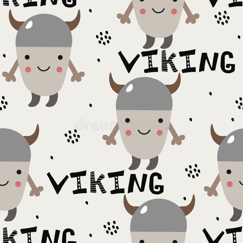 Modelo con pequeño vikingo lindo para los niños Estilo escandinavo ilustración del vector