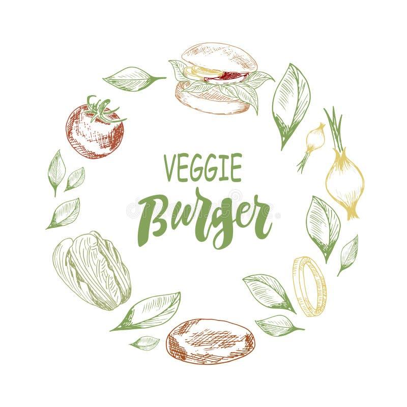 Modelo con poner letras a la hamburguesa y a verduras del veggie libre illustration