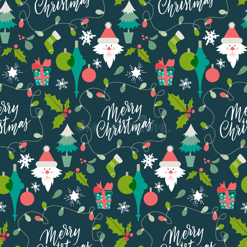 Modelo con símbolos del invierno Congrats de la Navidad y del Año Nuevo Saludos de la estación Letras para el postca libre illustration