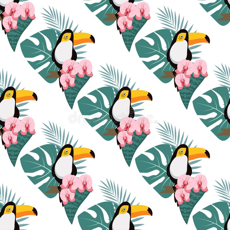 Modelo con toukan y la orquídea stock de ilustración