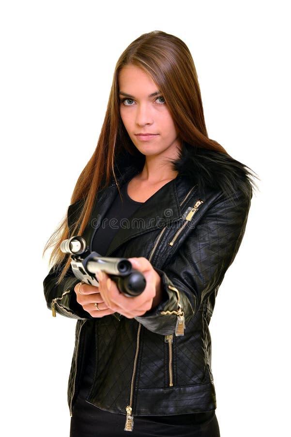 Modelo con un arma imagenes de archivo
