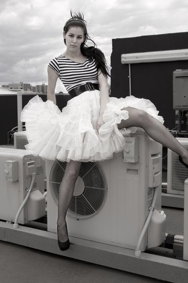 Modelo con una falda de la colmena imágenes de archivo libres de regalías