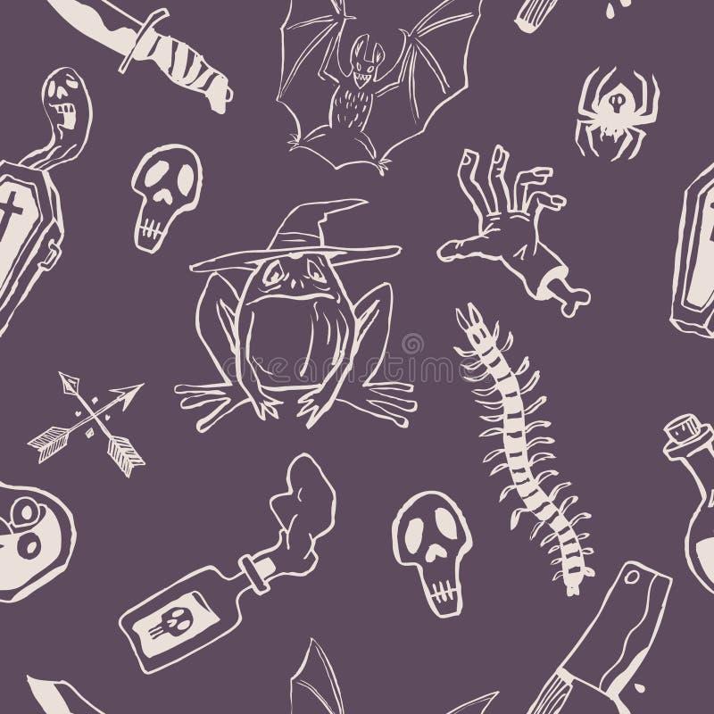Modelo con una rana, un ataúd, cuchillos, un palo, veneno Modelo para Halloween, convenientes bicolores para empaquetar y la deco ilustración del vector