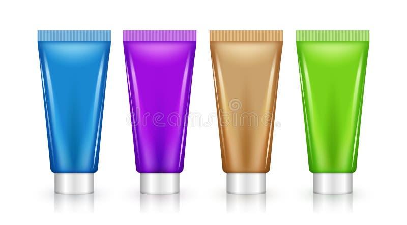 Modelo cosmético lilás do grupo do projeto do tubo da placa Creme do cuidado da beleza ou pacote do plástico do gel ilustração stock