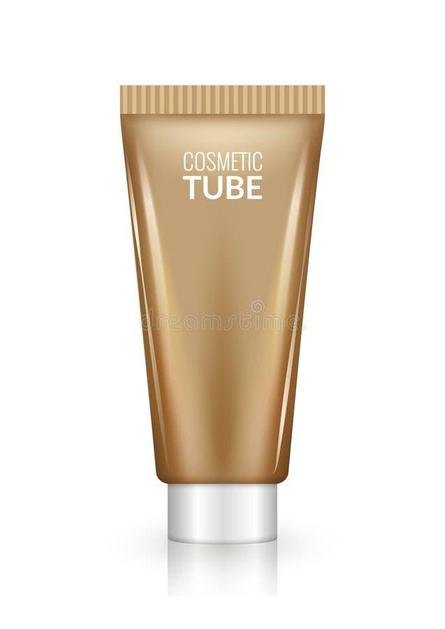 Modelo cosmético marrom vazio do projeto do tubo Creme do cuidado da beleza ou pacote do plástico do gel ilustração royalty free