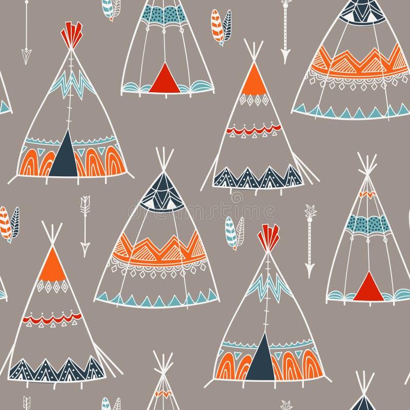 Modelo creativo del boho con la tienda de los indios norteamericanos o la tienda india libre illustration