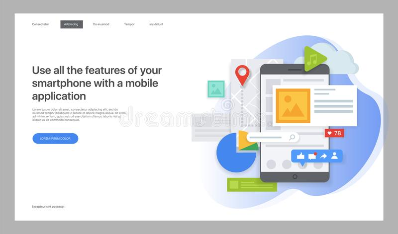 Modelo creativo del Web site Ejemplo del vector para una página web ilustración del vector