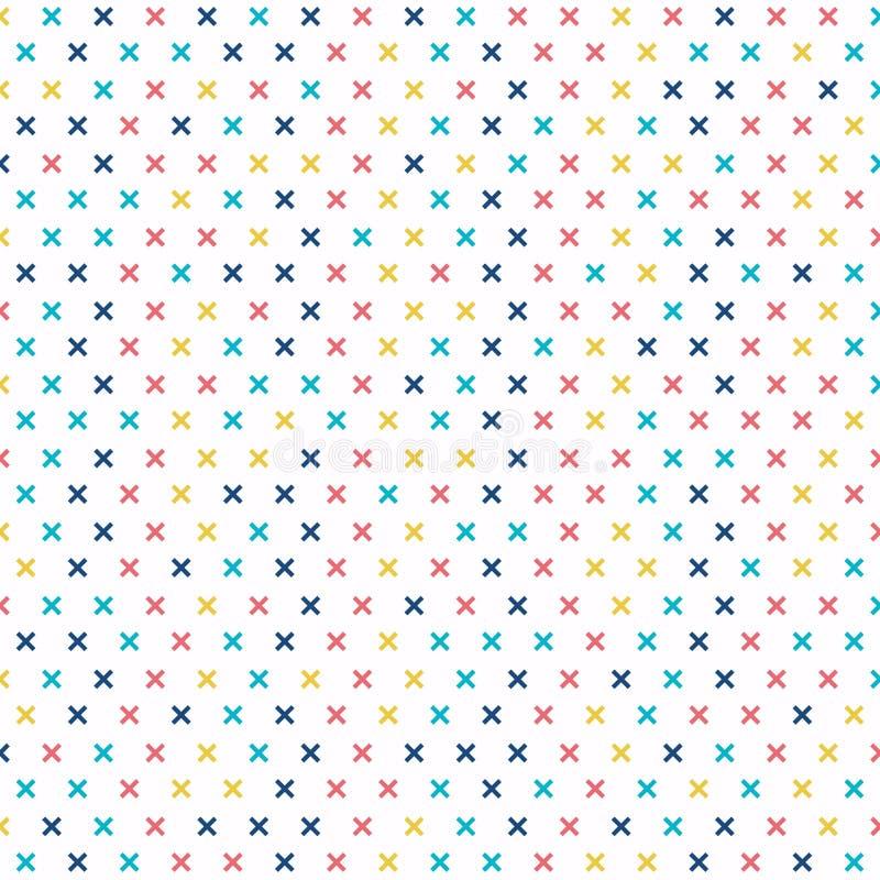 Modelo cruzado abstracto colorido en el fondo blanco Memphis geométrica más muestras libre illustration