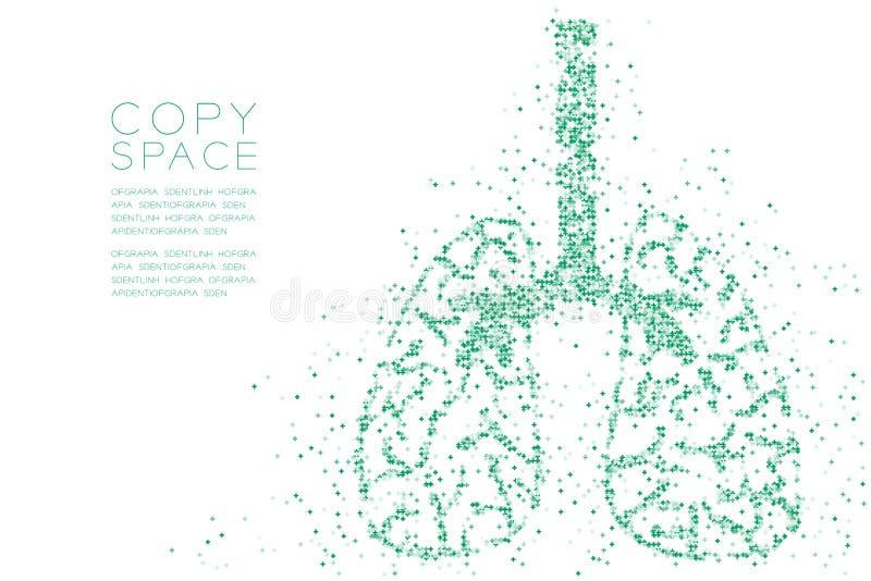 Modelo cruzado abstracto de la forma del pulmón, ejemplo de color azul del diseño de concepto del órgano de la ciencia médica ais ilustración del vector