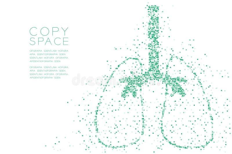 Modelo cruzado abstracto de la forma del pulmón, ejemplo de color azul del diseño de concepto del órgano de la ciencia médica ais libre illustration