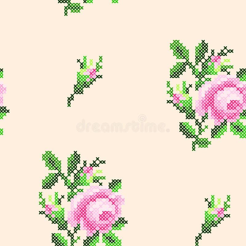 Modelo cruzado de las rosas de la puntada stock de ilustración