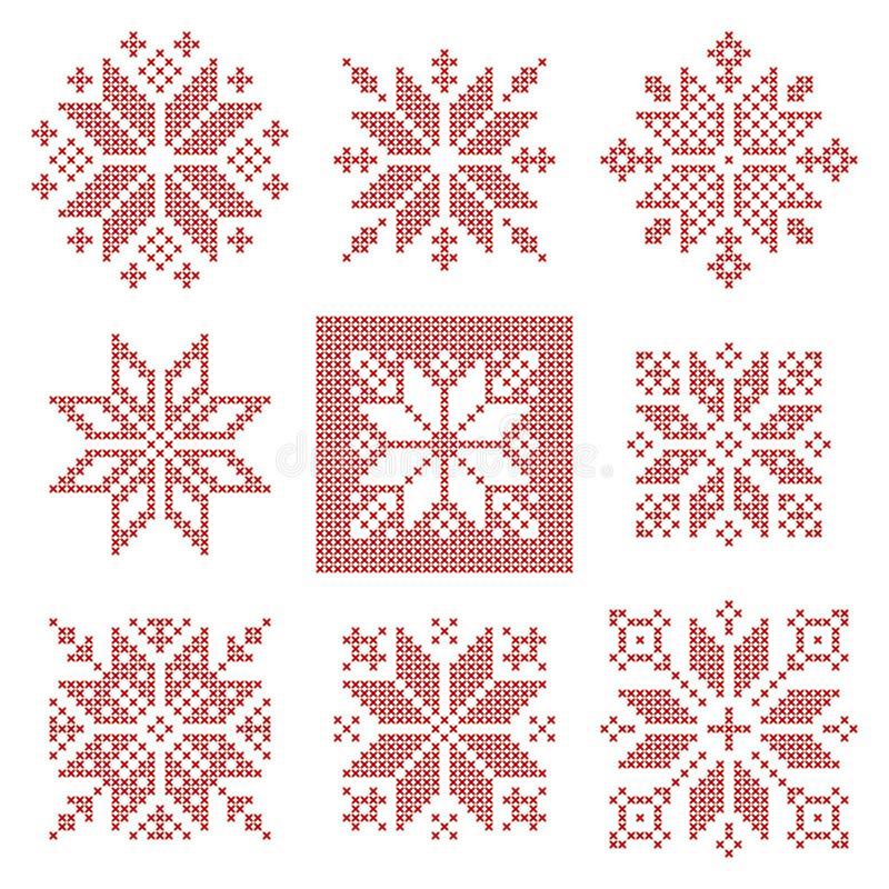 Modelo cruzado de nueve copos de nieve de la puntada, estilo escandinavo stock de ilustración