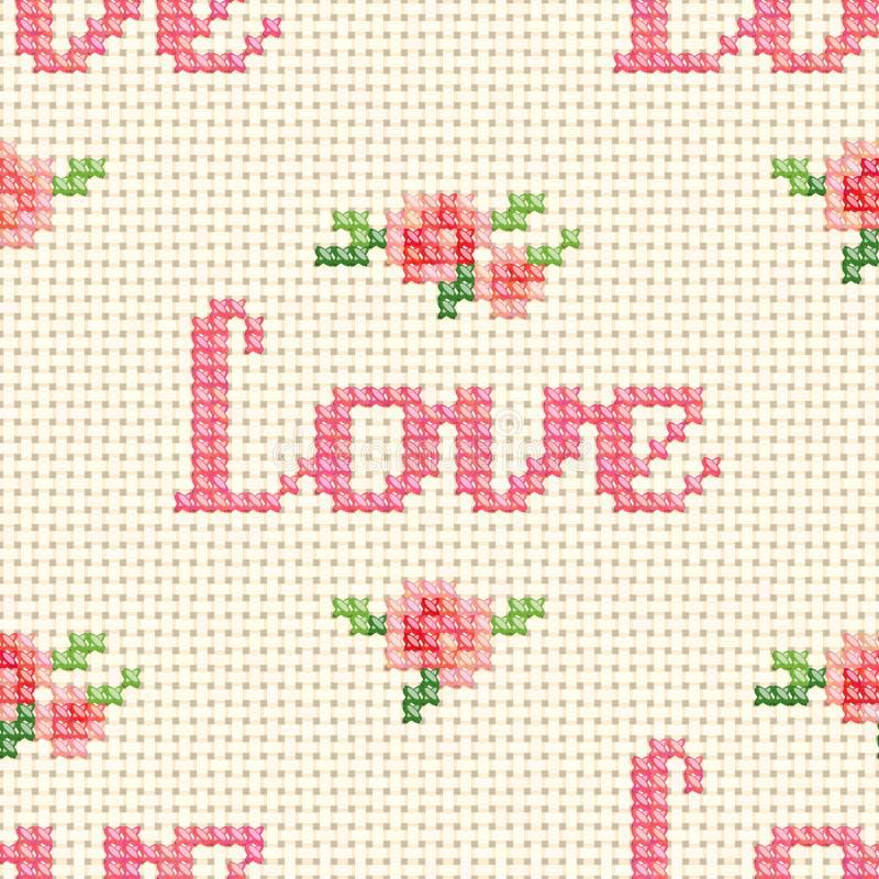 Modelo cruzado inconsútil de la puntada con 'amor' y rosas rosadas libre illustration