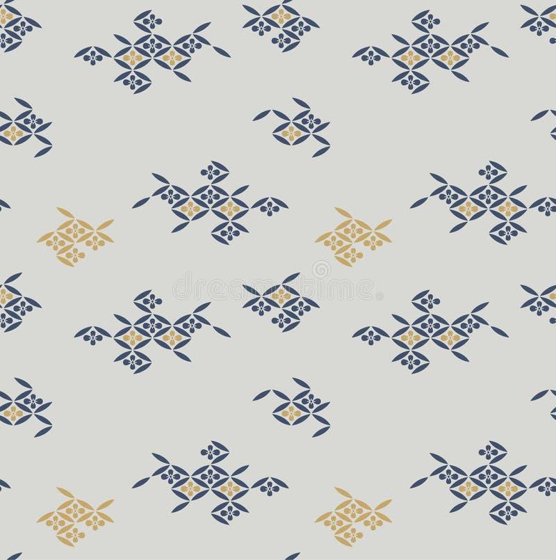 Modelo cuadrado diagonal floral japonés ilustración del vector
