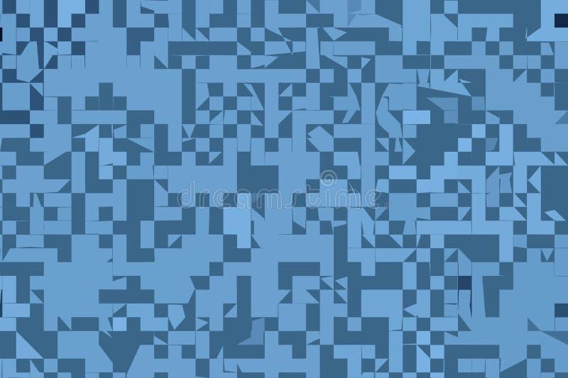 Modelo cuadrado geométrico al azar e irregular azul abstracto del diseño del fondo libre illustration