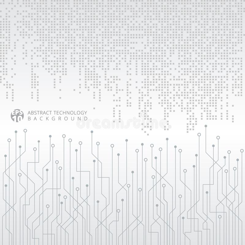 Modelo cuadrado gris abstracto de los datos digitales de la tecnología con circui stock de ilustración