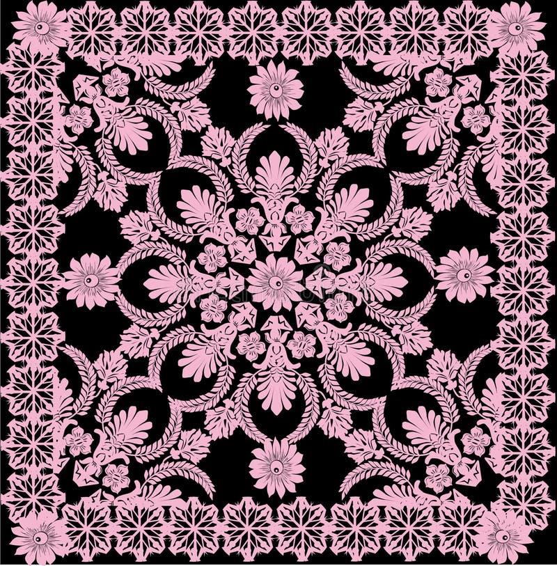 Modelo cuadrado rosado fino en negro ilustración del vector