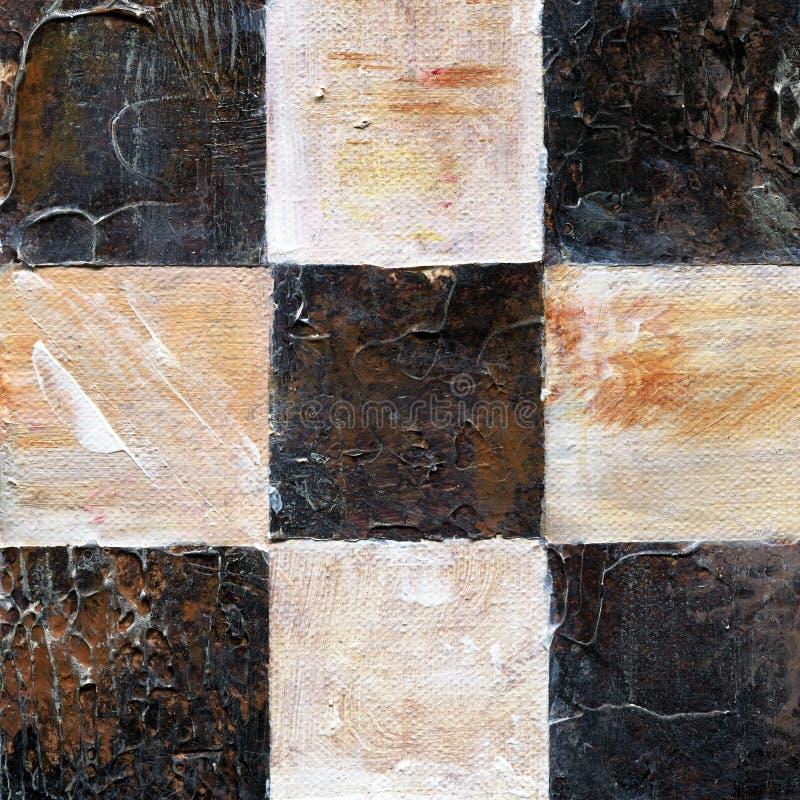 Modelo a cuadros abstracto pintado con las pinturas del acrílico o de aceite en lona en colores marrones y beige stock de ilustración