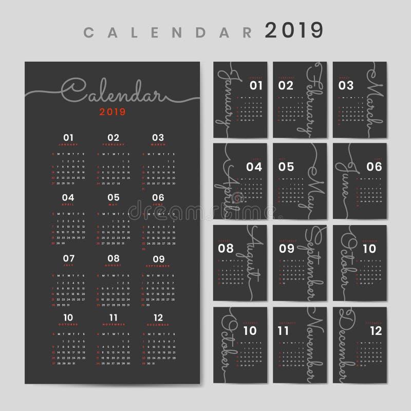 Modelo cursivo do calendário do projeto ilustração stock