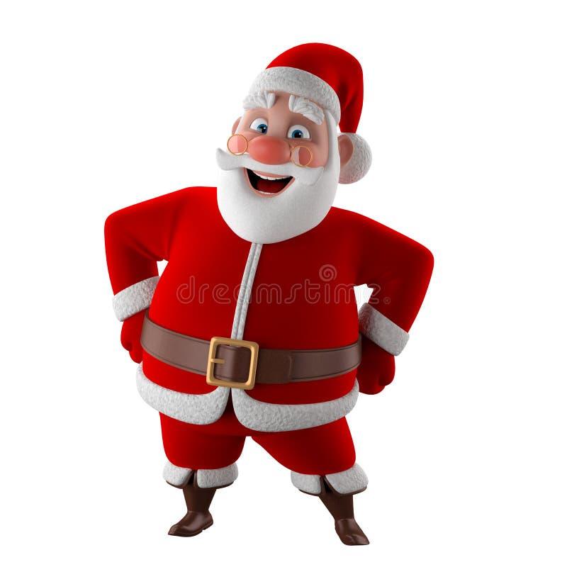 Modelo 3d alegre de Papai Noel, ícone do Natal feliz, ilustração do vetor