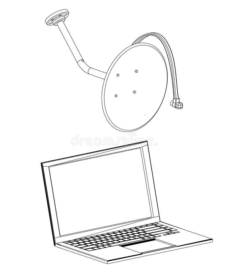 modelo 3d da antena parabólica e do portátil em um branco ilustração royalty free