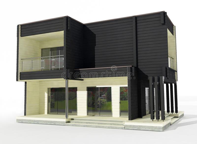 modelo 3d da casa de madeira preto e branco em um fundo branco. ilustração do vetor