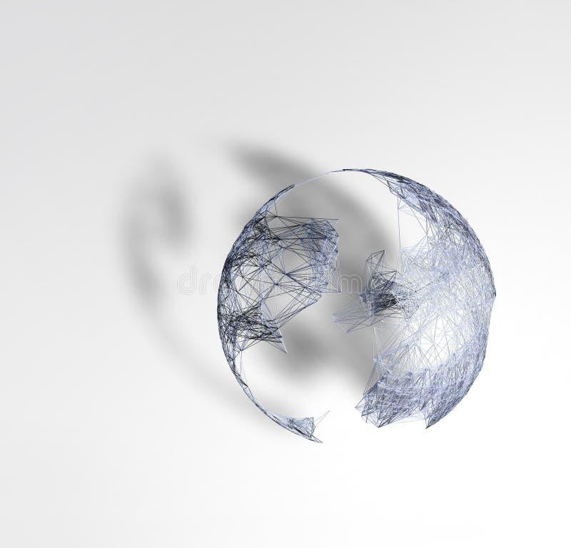 modelo 3d da terra do planeta feito de partículas do plexo e de triangulators sob a forma do fio realístico no fundo do papel ilustração stock