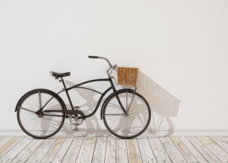 modelo 3d de la bicicleta retra negra con la cesta delante de la pared blanca, fondo ilustración del vector