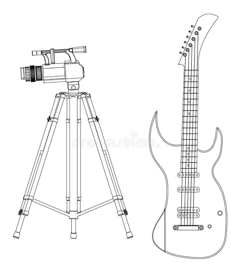 modelo 3d de la cámara y de la guitarra en un blanco libre illustration