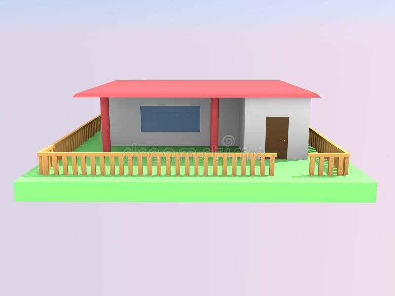 modelo 3d de la habilitación de la casa, vista delantera imagen de archivo