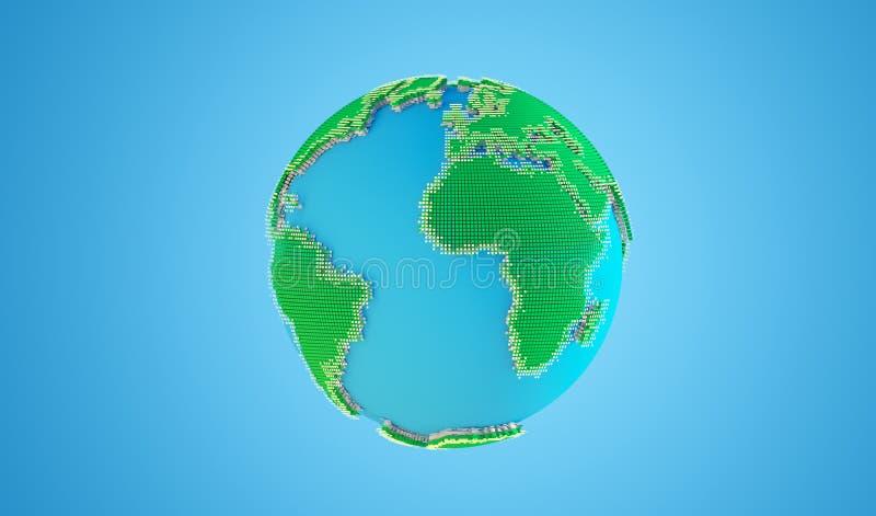 modelo 3d de la tierra del planeta ilustración del vector