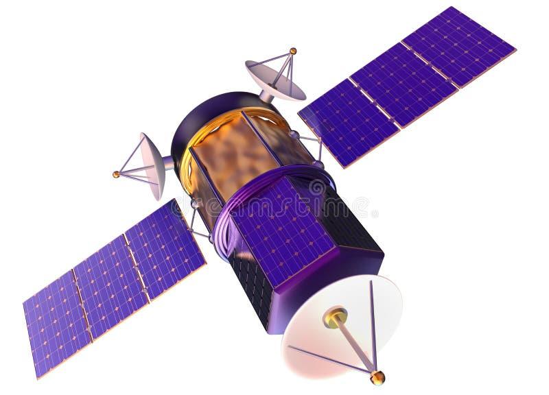 modelo 3D de um satélite artificial da terra ilustração do vetor