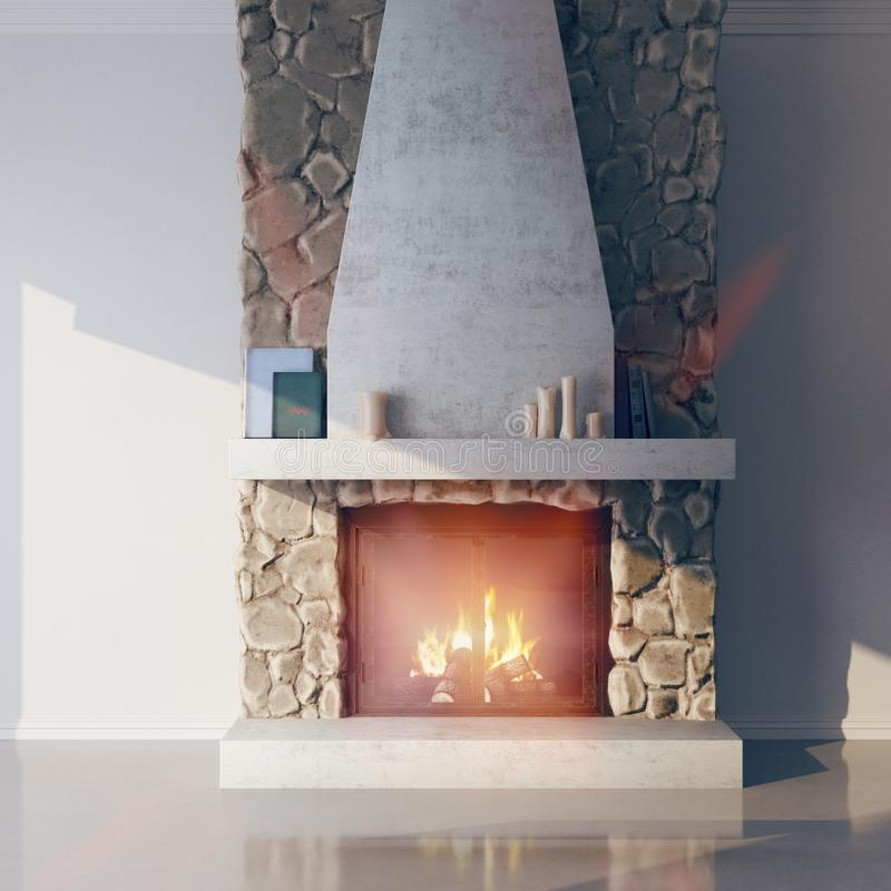 modelo 3d de una chimenea hecha de piedra Hogar, estilo del chalet en el interior stock de ilustración