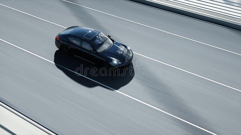 modelo 3d del coche deportivo negro en el puente Conducci?n muy r?pida representaci?n 3d stock de ilustración