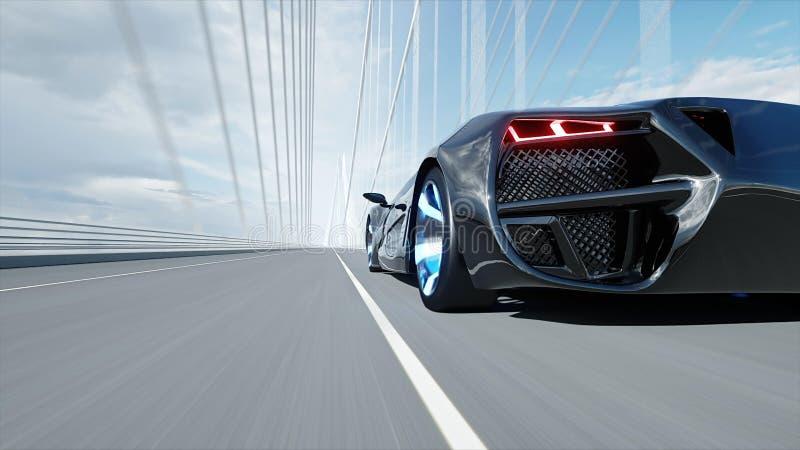 modelo 3d del coche futurista negro en el puente Conducci?n muy r?pida Concepto de futuro representaci?n 3d libre illustration