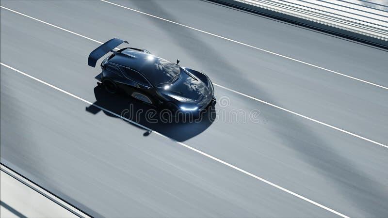 modelo 3d del coche futurista negro en el puente Conducci?n muy r?pida Concepto de futuro representaci?n 3d ilustración del vector