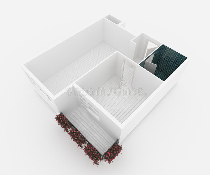 modelo 3d do apartamento home vazio ilustração royalty free